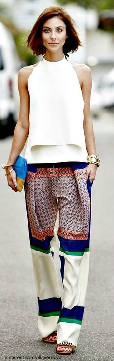 Silk pants with white top #summer