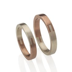 Two halves from different precious metals, these rings have unique detailing inspired by joinery techniques. The two halves in Fairtrade silver, and/or different colours of 9ct or 18ct Fairtrade gold both celebrate the contrast and bond between each.