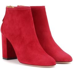 Aquazzura Downtown 85 Suede Boots ($655) ❤ liked on Polyvore featuring shoes, boots, red, aquazzura shoes, aquazzura, aquazzura boots, red shoes and red boots