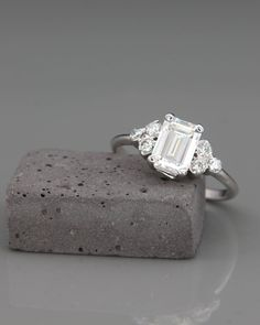 Diamond Wedding Rings ✿ THE JEWEL Handmade solid white gold emerald cut engagement ring set with Moissanite and diamonds. A brilliant and alluring Emerald Cut engagement ring, set with Charles Gothic Engagement Ring, Elegant Engagement Rings, Engagement Ring Settings, Diamond Engagement Rings, Wedding Rings, Bridal Rings, Gold Wedding, Ruby Wedding, Wedding Fun