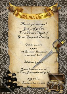 Halloween invitation wording pirate theme halloween pinterest pirate party invitation halloween costume by cherrybonbondesigns stopboris Choice Image