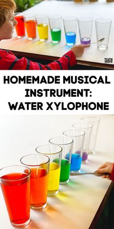 Homemade Musical Instrument: Water Xylophone - Teach Beside Me - - Make your own homemade musical instrument with this easy wayter xylophone. This is the easiest instrument you can make with kids. Make it rainbow, too! Music Activities For Kids, Preschool Math Games, Music For Kids, Crafts For Kids, Rainbow Activities, Music Lessons For Kids, Toddler Instruments, Homemade Musical Instruments, Music Instruments Diy