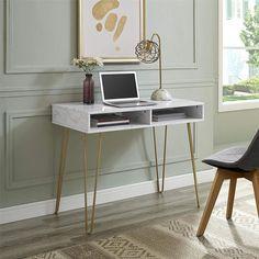 Novogratz Athena Computer Desk with Storage, White Marble Marble Desk, Clean Desk, Bedroom Desk, Small Desk For Bedroom, Computer Desk In Bedroom, White And Gold Bedroom Furniture, Small Bedrooms, Desks For Small Spaces, White Desks