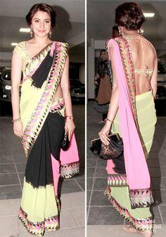 Anushka Sharma in an Abu Jani – Sandeep Khosla http://www.abusandeep.com/ Saree at Aamir Khan's 2013 Diwali Party