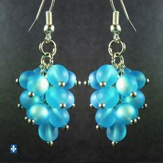 ♥ All Blue Luminous Iridescent Frosted Czech Glass Plated Silver Earrings