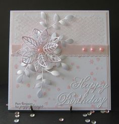 Feminine Glitter and Pearls. Poppystamp dies Feminine Glitter and Pearls. Poppystamp dies The post Feminine Glitter and Pearls. Poppystamp dies appeared first on Birthday. Birthday Cards For Women, Handmade Birthday Cards, Happy Birthday Cards, Greeting Cards Handmade, Female Birthday Cards, Embossed Cards, Mothers Day Cards, Pretty Cards, Flower Cards