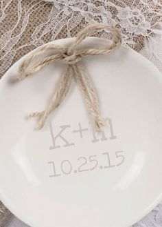 This personalized ring dish is a beautiful wedding accessory that can be used for the ceremony as well as at home. A perfect gift for the soon-to-be newly weds!