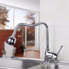 Wholesale And Retail Promotion Luxury Chrome Brass Kitchen Faucet Single Handle Hole Vessel Sink Mixer Tap