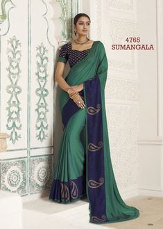 a00bc20439bb4 Buy Teal Green and Navy Blue Color Georgette Saree BY FASHION HOUSE at low  prices in