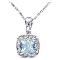 Amour 0.06 CT Diamond TW And 4/5 CT TGW Aquamarine Fashion Pendant... (2 315 ZAR) ❤ liked on Polyvore featuring jewelry, pendants, no color, charm pendant, white gold jewelry, aquamarine jewelry, aquamarine diamond pendant and heart pendant