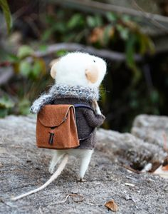 Little Traveler Mouse  Felting Dreams  READY TO by feltingdreams, $88.00