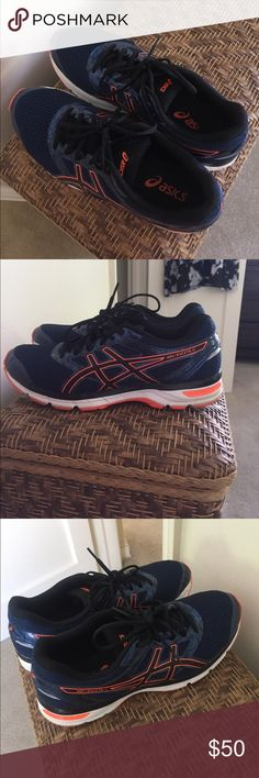 Men's running sneakers Blue and Orange men's Asics running sneakers! Brand new worn only 3 times. Gel-Excite 4 mesh toe. Asics Shoes Sneakers