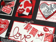 """Sneak Peek at my Valentine Sampler Collage using Stampin' Up! products! Stamps used:  """"Follow My Heart"""" """"Banner Blast"""" """"Take It To Heart"""" """"Hearts a Flutter"""""""