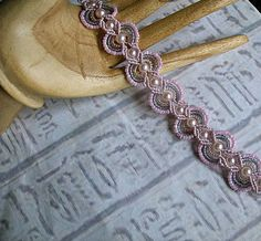 Micro macrame bracelet in pink and gray. Macrame jewelry.. $31.99, via Etsy.