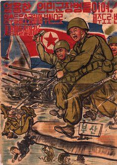 Vintage poster - North Korean propaganda Art Print by Vintage Images - X-Small Nagasaki, Hiroshima, Vintage Images, Vintage Posters, World History, World War Ii, Propaganda Art, Korean Peninsula, Military Art