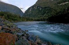 At days end, the Cleddau River in all its natural beauty, Fiordland, New Zealand.
