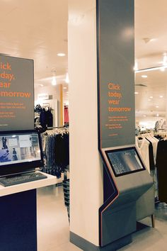 Digital interactive order point in John Lewis, Birmingham, New Street Station. The kiosk brings the online experience into the store for cus… Kiosk Design, Signage Design, Display Design, Retail Design, Store Design, Design Design, Graphic Design, Digital Kiosk, Digital Retail