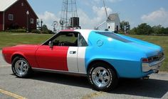 AMC had red, white and blue schemes for all models. The factory race team of Super Stocks ran these colours. Four speed cars that pulled the wheels thru third ! Amc Javelin, American Motors, Mercury Cars, Car Advertising, Drag Cars, American Muscle Cars, Big Trucks, Drag Racing, Mopar