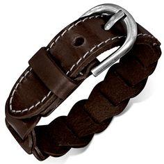 Bracelet homme Zense fashion et fantaisie ajustable en cuir véritable marron avec fermeture de type boucle de ceinture. Matière : cuir. Longueur : 16 à 20 cm (ajustable). Largeur : 1.50 cm. Poids : 21.30 g. Référence : ZB0204.