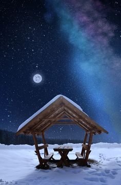 """Photo of full moon and stars and blue purple milky way clouds over the snow scene of an simple picnic table shelter, abandoned until winter passes and summer returns to this Arctic like setting. DdO:) MOST POPULAR RE-PINS - http://www.pinterest.com/DianaDeeOsborne/universe-lights - UNIVERSE LIGHTS. Because of ice droplets in atmosphere, sky above will be more blue than the sky at horizon- but not as blue as during summer. #DdO:)  PHOTO CREDIT: """"One magic night""""byCaras Ionuton 500px"""