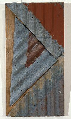 Rosalie Gascoigne  Rose Red City #2, 1992  corrugated iron on wood  100 × 52cm
