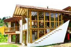 Unique Shape Bamboo Architecture With Glass Windows Design Making bamboo building house construction Home design Backyard Garden Landscape, Small Backyard Gardens, Modern Backyard, Gravel Garden, Large Backyard, Garden Path, Water Garden, Herb Garden, Filipino Architecture