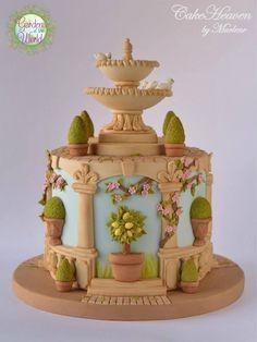 My Italian Garden Cake - Gardens of the world Collaboration - Cake by Marlene - CakeHeaven Gardening Theme Cake Ideas Gorgeous Cakes, Pretty Cakes, Amazing Cakes, Unique Cakes, Creative Cakes, Elegant Cakes, Fondant Cakes, Cupcake Cakes, Cakes Originales