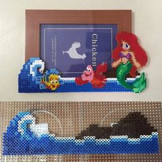 Ariel  photo frame perler beads by ikasuyanto