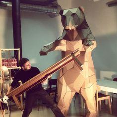 OFFICE BEAR CREATION large papercraft installation by Wes Nijssen, via Behance