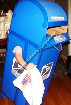 Homemade Mailbox Costume: I made this Mailbox Costume for my 10 year old daughter who insisted on being a USPS blue mailbox. I used blue poster board and duct taped it together