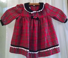 Bonnie Baby Girl Christmas Dress 12M Red Plaid Long Sleeves Black Velvet Trim #BonnieBaby #Holiday