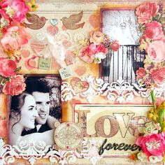 Scrapperlicious: Love Forever Layout by Irene Tan using Clear Scraps acrylic layouts, stencils, acrylic expression