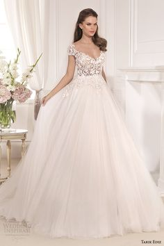 tarik ediz 2014 bridal collection cap sleeves illusion neckline sweetheart a line wedding dress 1 karanfil