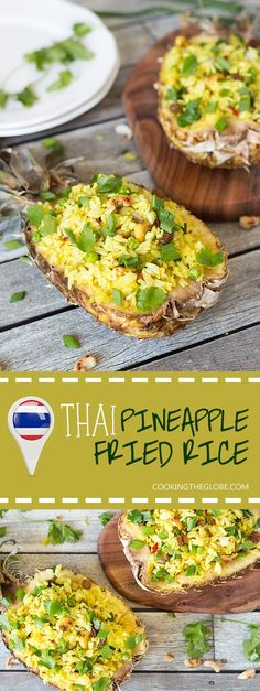 This signature Thai Pineapple Fried Rice is sweet & spicy. It is served in pineapple shells!   http://cookingtheglobe.com