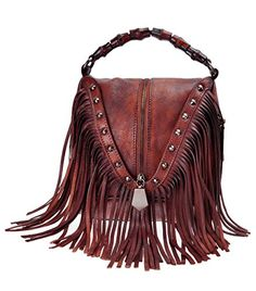 online shopping for ZLYC Women's Leather Bamboo Hand Strap Featured Fringe Bohemian Tassel Studed Cross Body Bag from top store. See new offer for ZLYC Women's Leather Bamboo Hand Strap Featured Fringe Bohemian Tassel Studed Cross Body Bag Fall Handbags, Purses And Handbags, Leather Handbags, Brown Handbags, Ladies Handbags, Luxury Handbags, Cheap Handbags, Popular Handbags, Cheap Bags