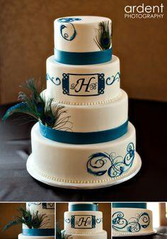peacock theme wedding cake