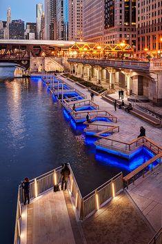 Chicago Riverwalk Gallery | LED Linear™ Facade Lighting, Exterior Lighting, Chicago Riverwalk, Chicago Chicago, Paving Design, Landscape Lighting Design, Public Space Design, River Walk, Modern Landscaping