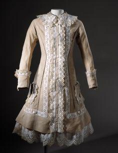 Girl's dress, linen, cotton sateen and silk ribbon, c. 1886, English.
