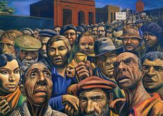 Antonio Berni, Manifestación, 1934.  Óleo sobre arpillero, 180 x 250 cm.  Colección particular, Buenos Aires.