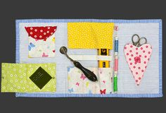 Quilted case to organize tools for quilting