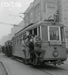 Budapest Workers Clinging on to Tram 1955