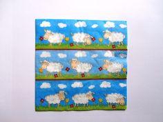 """Servietten - 4 Servietten """"Schafe"""" 7 - ein Designerstück von Lila011wollspielerei bei DaWanda"""
