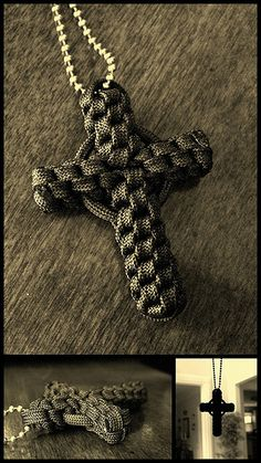 I integrated a keyring/split ring, covered with paracord, to add the circle/ring to the crown sinnet cross.  The same can be done with the many paracord knotted cross variations to get the Celtic cross type look.