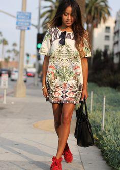 Dress: Zara Sneakers: Isabel Marant Sunnies: Karen Walker Bag: Celine
