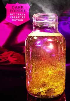 Dark Forest DIY Crazy Creature Potion created with 2 bottles of hand soap, water, glitter, and confetti in a glass jar. Inspired by Strange Magic – In theatres January 23rd