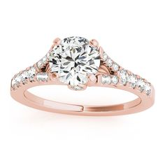 Transcendent Brilliance 14k Gold 1 2/5ct TDW White Diamond Graduated Split Shank Engagement Ring (F-G, VS1-VS2) (Rose - Size 8.25), Women's