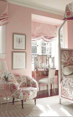 sweet english style pink bedroom