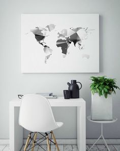 Geometric Print, Map Of The World, Geometric Map Art, Abstract Wall Art, Unique Gift Ideas, Black And White Art, Teen Room Decor - PT0294 by ShabbyShackStudio on Etsy