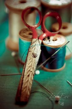 Sewing Scissors - still life photo, wooden spools of aqua thread, Craft Room art photography - Sewing Box, Sewing Tools, Sewing Crafts, Vintage Scissors, Sewing Scissors, Vintage Sewing Notions, Still Life Photos, Sewing Baskets, Wooden Spools