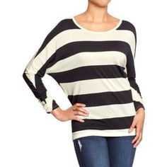$3 SALEStriped Dolman Long Sleeve Top Black and white striped dolman top from old navy. Only used a few times. Still in good condition. Fits a small. Old Navy Tops Tees - Long Sleeve